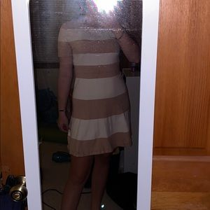 White and Tan striped BCBG dress